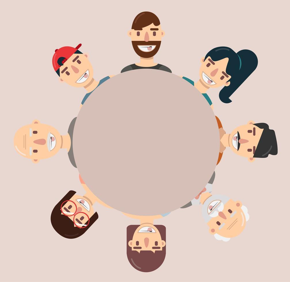 coleção de avatares de desenhos animados felizes em um círculo vetor