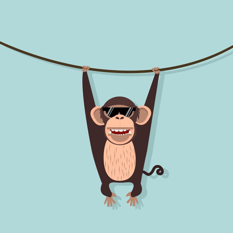 macaco fofo pendurado em uma videira vetor