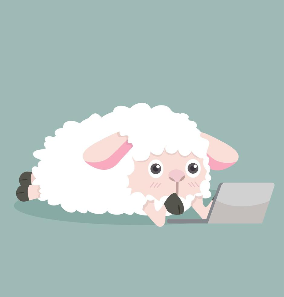 ovelha fofa com laptop vetor