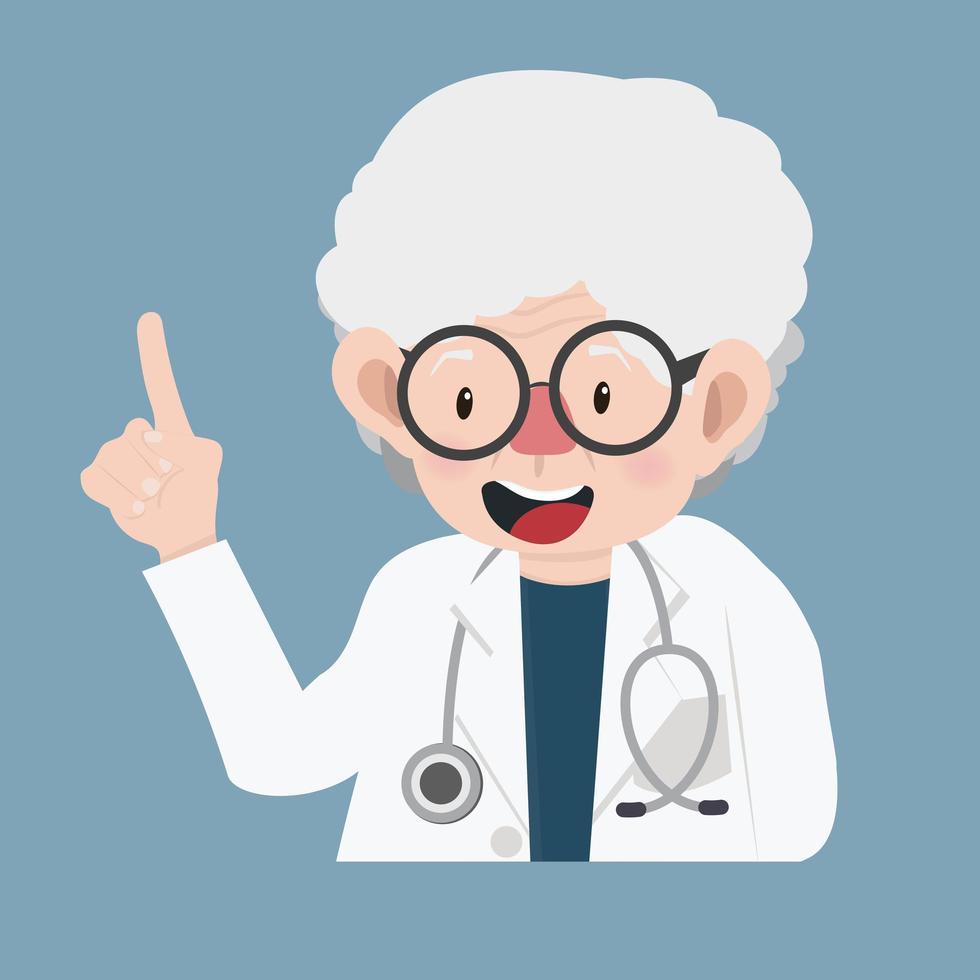 médica idosa vetor