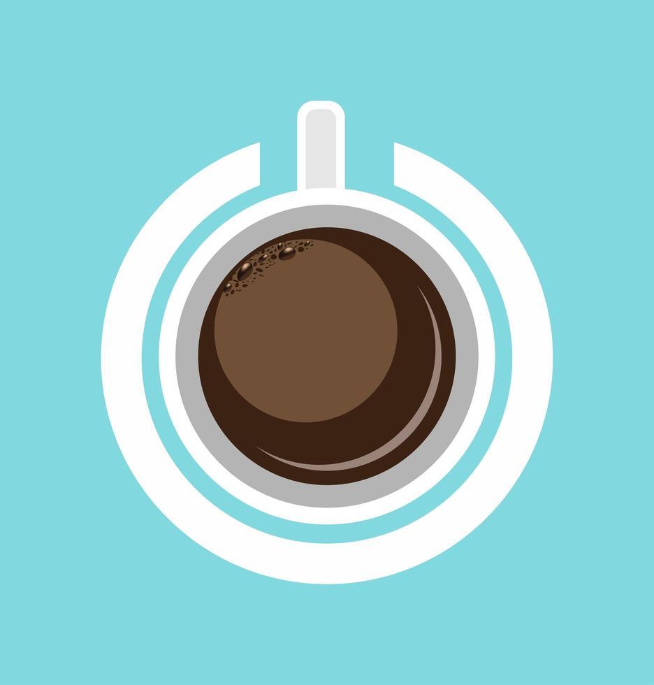 xícara de café misturada com símbolo de poder vetor
