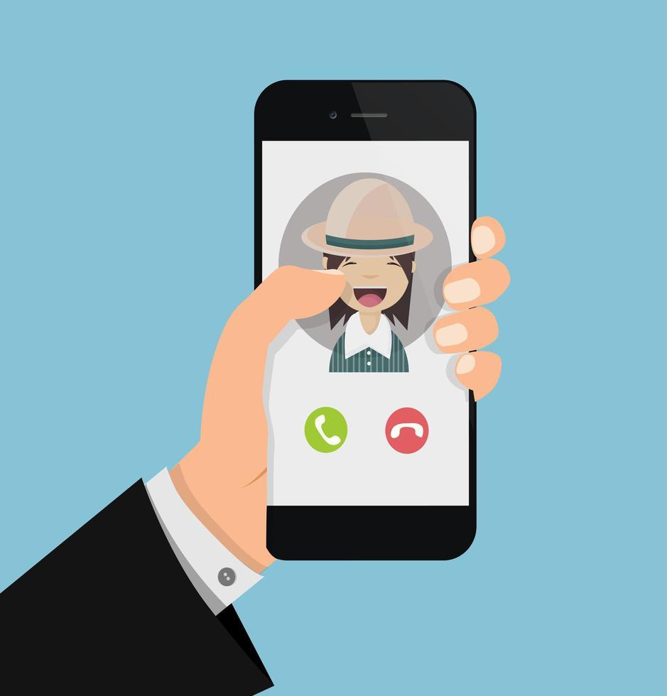empresário segurando um smartphone com uma chamada vetor
