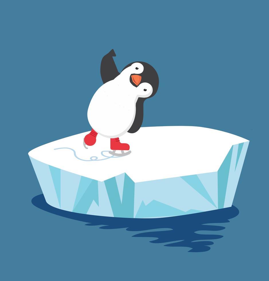 pinguim fofo patinando em um bloco de gelo vetor