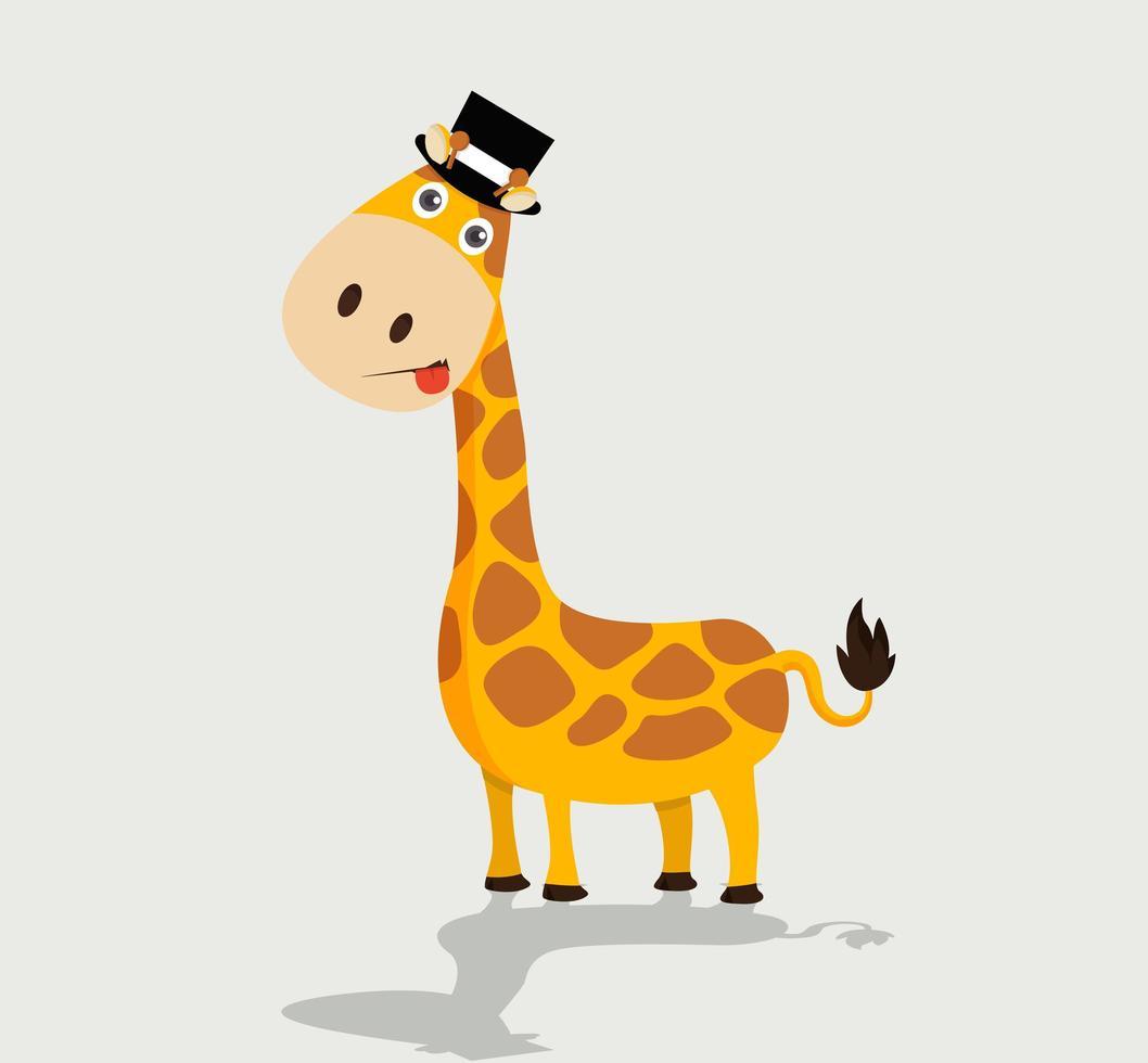 girafa fofa usando chapéu vetor