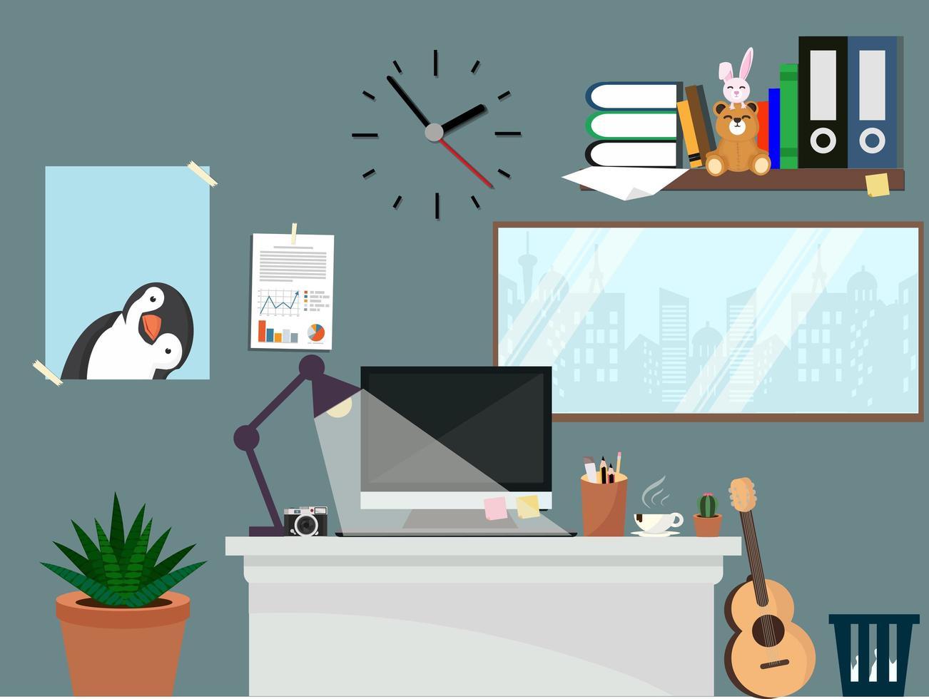 lindo espaço de trabalho de escritório vetor