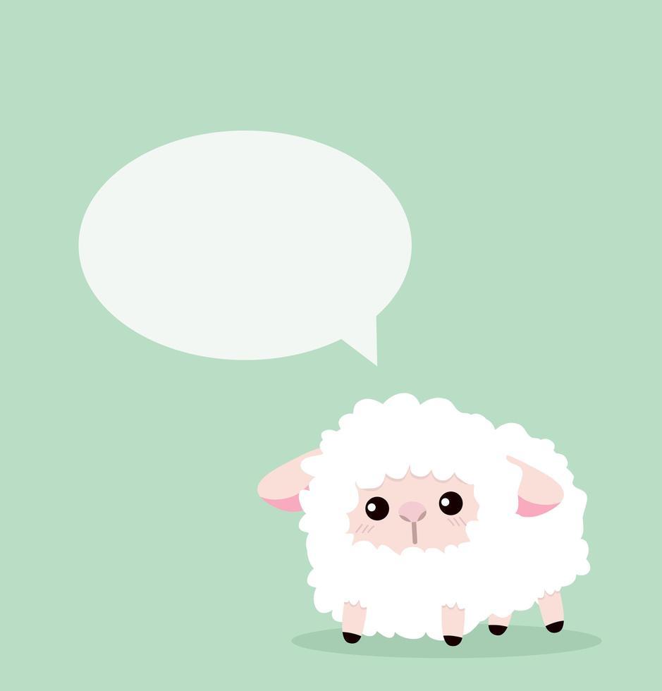 ovelha fofa com balão de fala vetor