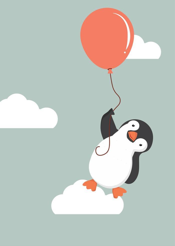 pinguim fofo segurando um balão vetor