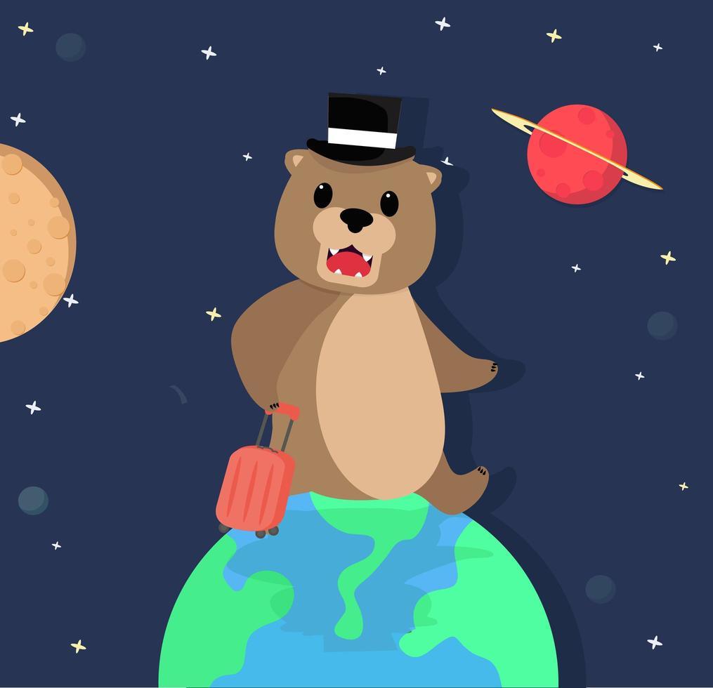 urso fofo saindo de férias no espaço vetor
