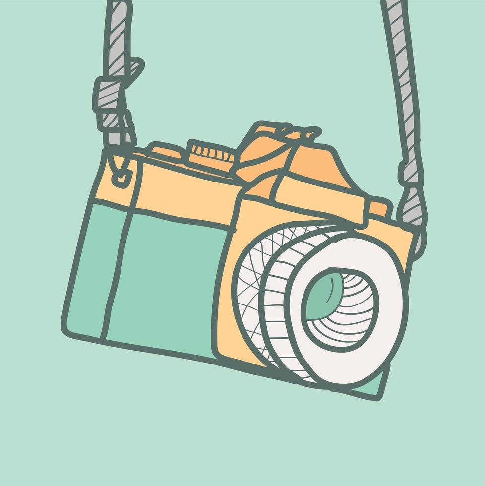 câmera fotográfica hipster em estilo desenhado à mão vetor