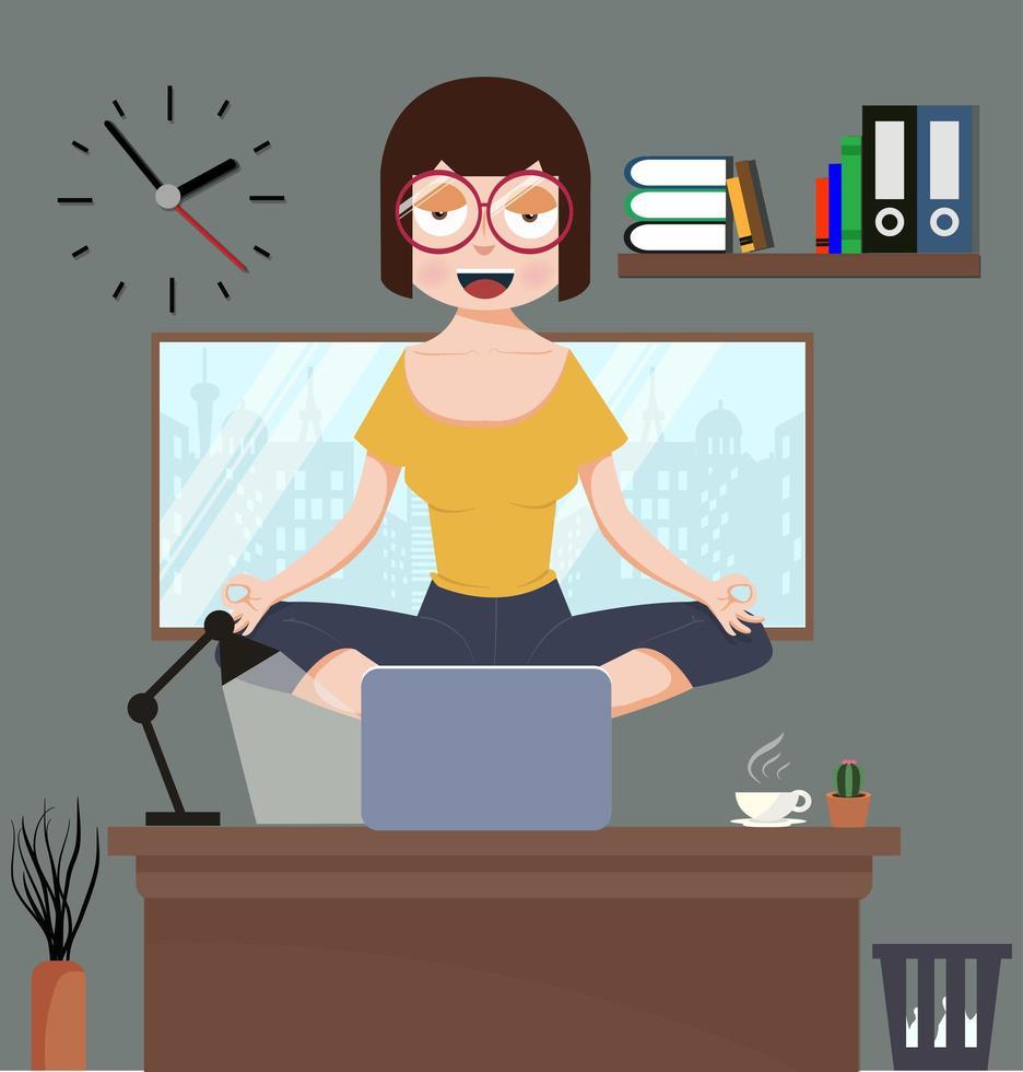 mulher meditando no escritório vetor