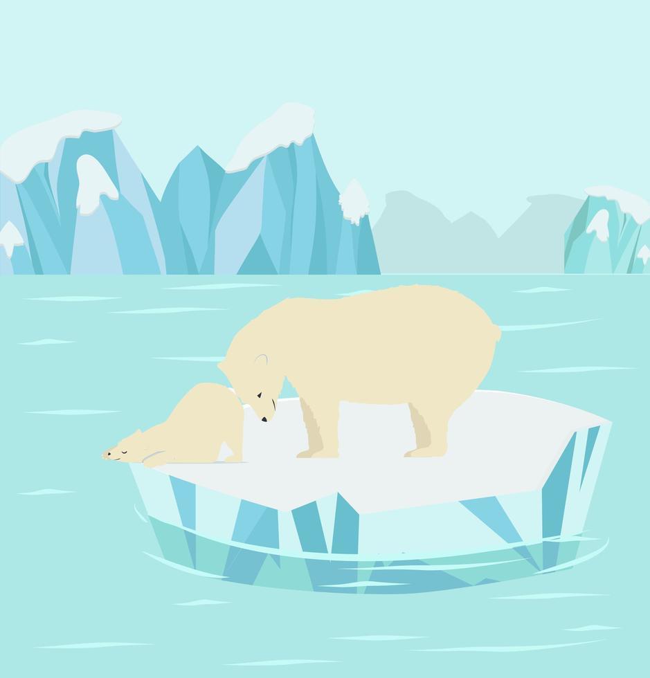 urso polar com filhote em um bloco de gelo ártico vetor