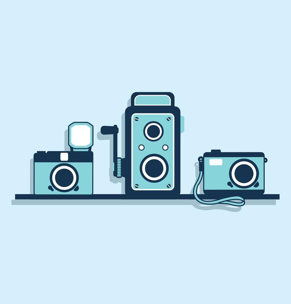 coleção de câmeras antigas vetor