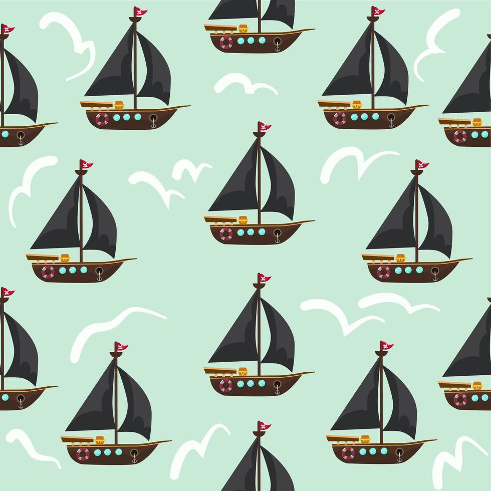 padrão sem emenda de navios piratas vetor
