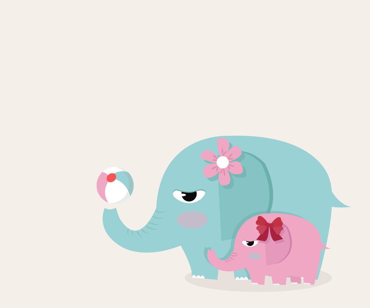 elefantes fofos brincando com bola vetor