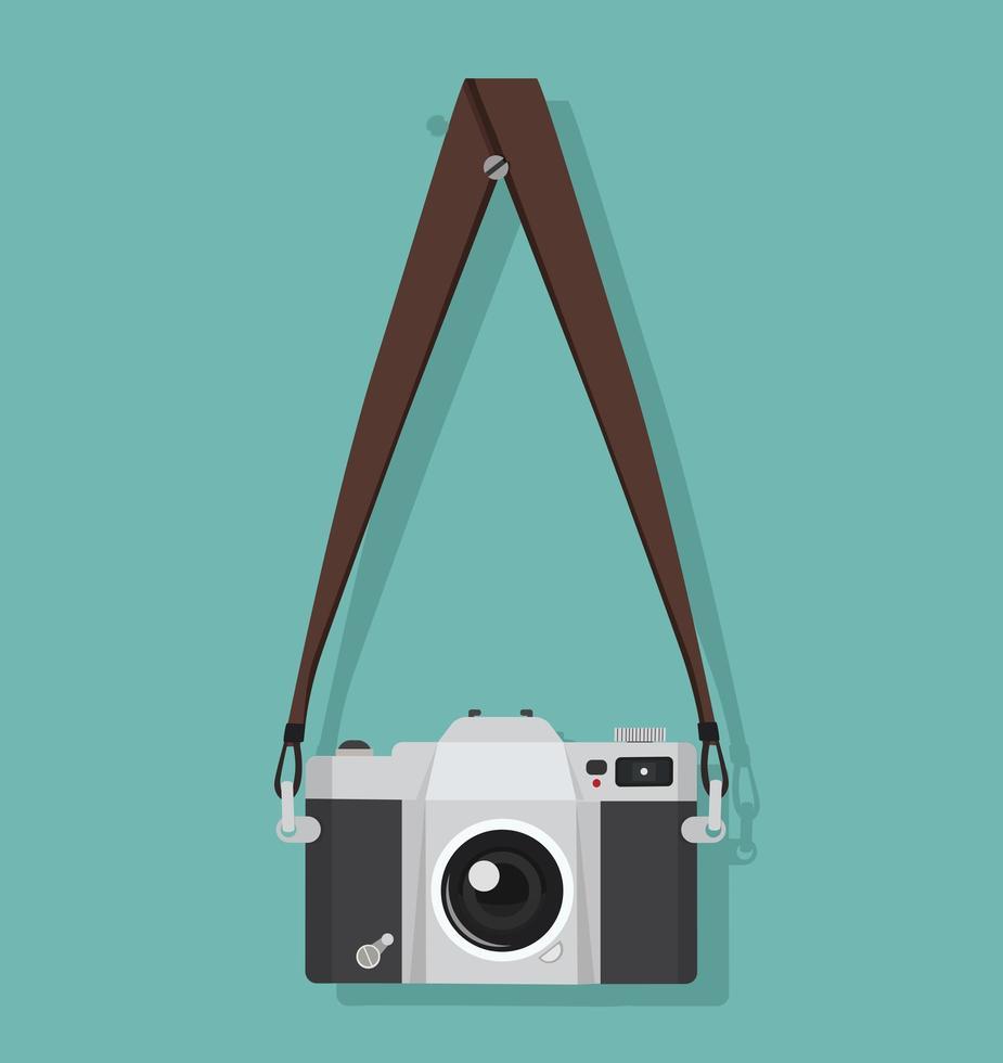 câmera fotográfica vintage pendurada em uma alça vetor