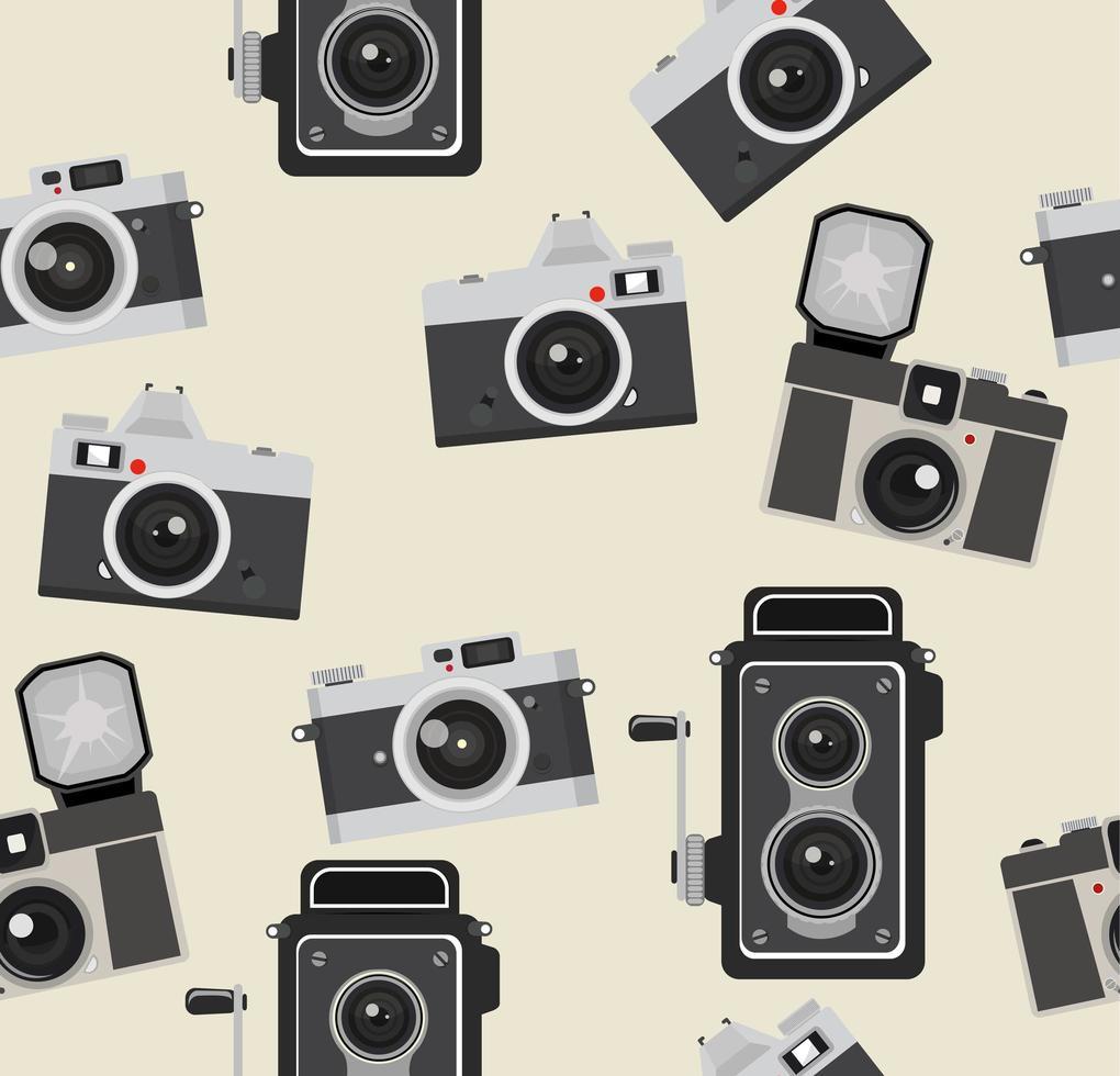 padrão uniforme de câmeras fotográficas retrô vetor