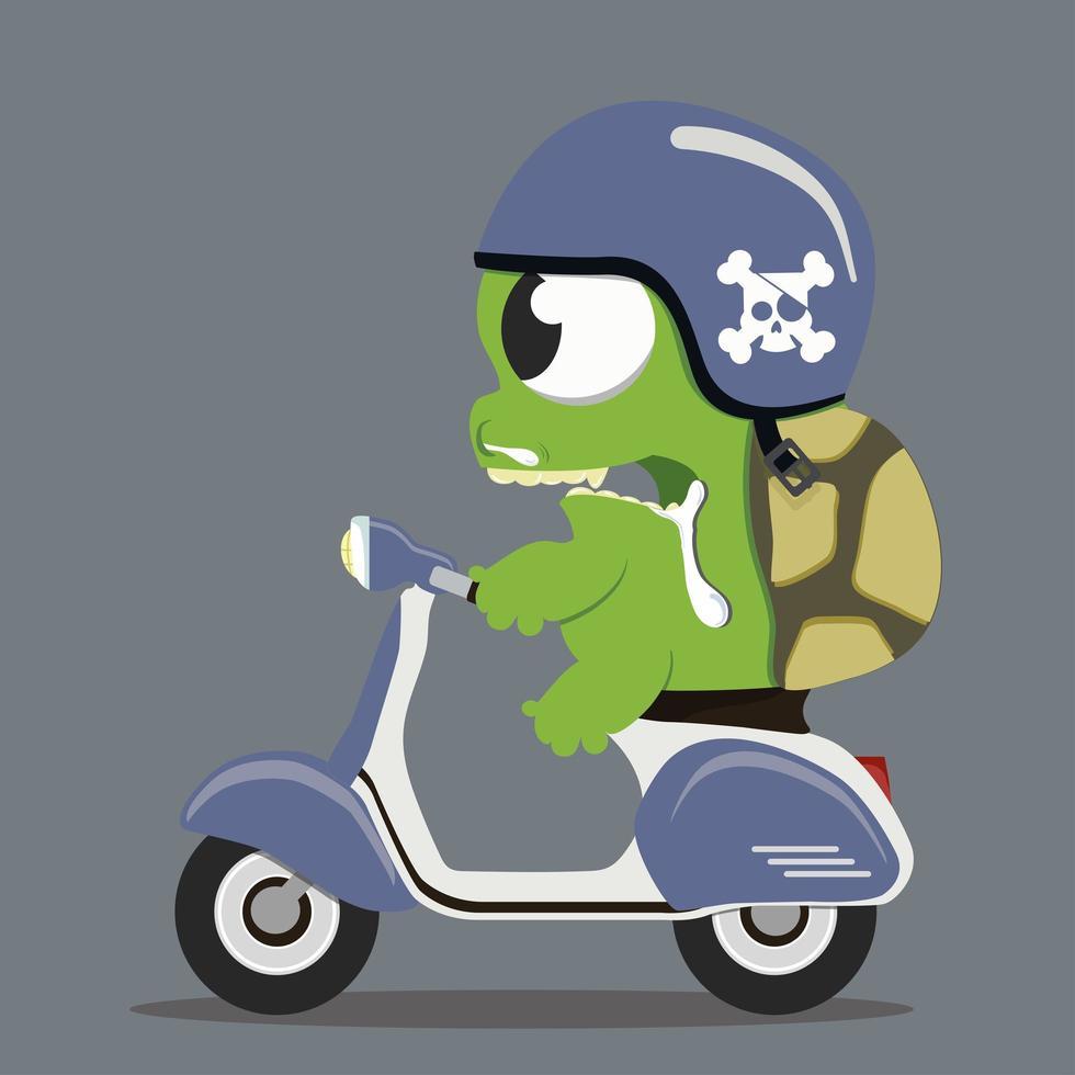 tartaruga monstro andando de scooter vetor
