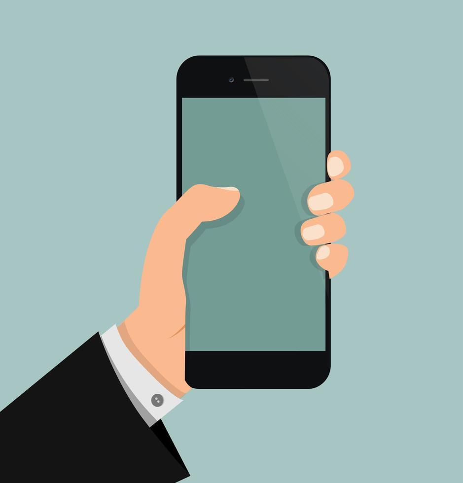 empresário segurando um smartphone vetor