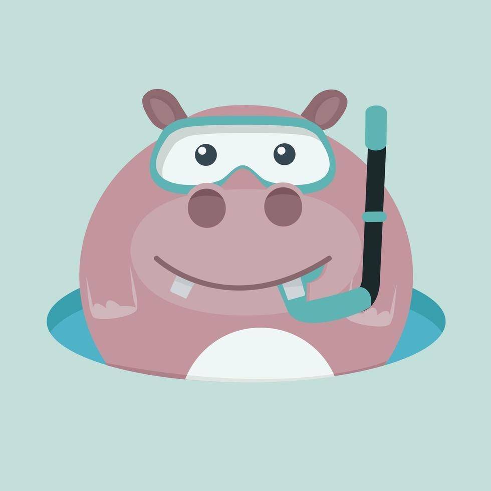desenho animado bonito nadando com um snorkel e óculos de proteção vetor
