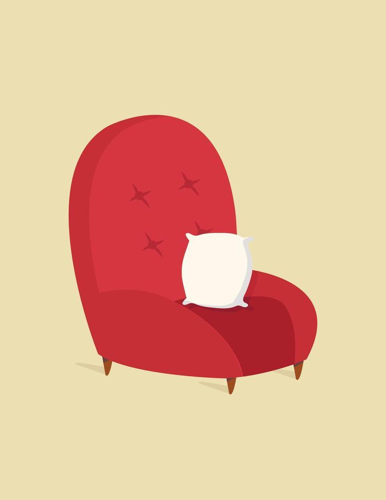 sofá moderno vermelho para sala de estar vetor