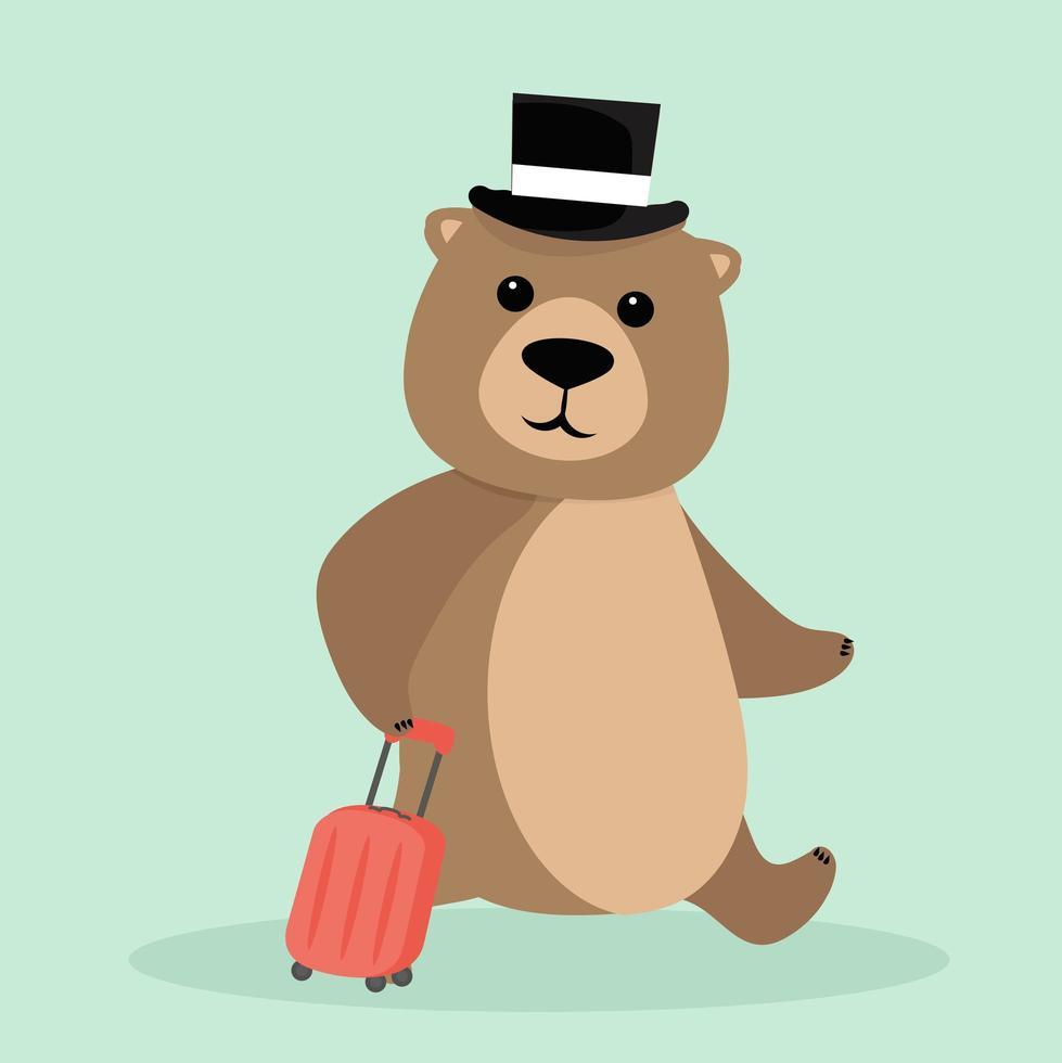 urso de pelúcia fofo saindo de viagem vetor