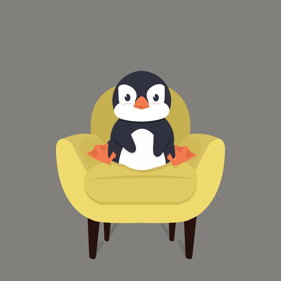 pinguim fofo sentado em uma cadeira amarela moderna vetor