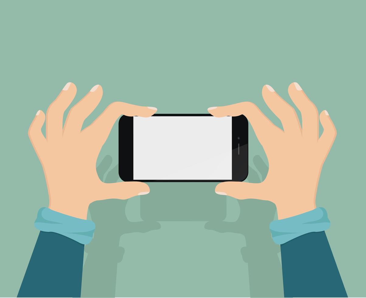 homem tirando uma foto com um smartphone vetor
