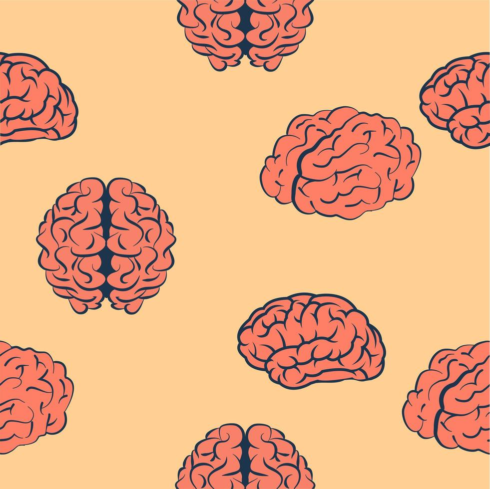 padrão sem emenda de cérebros rosa vetor