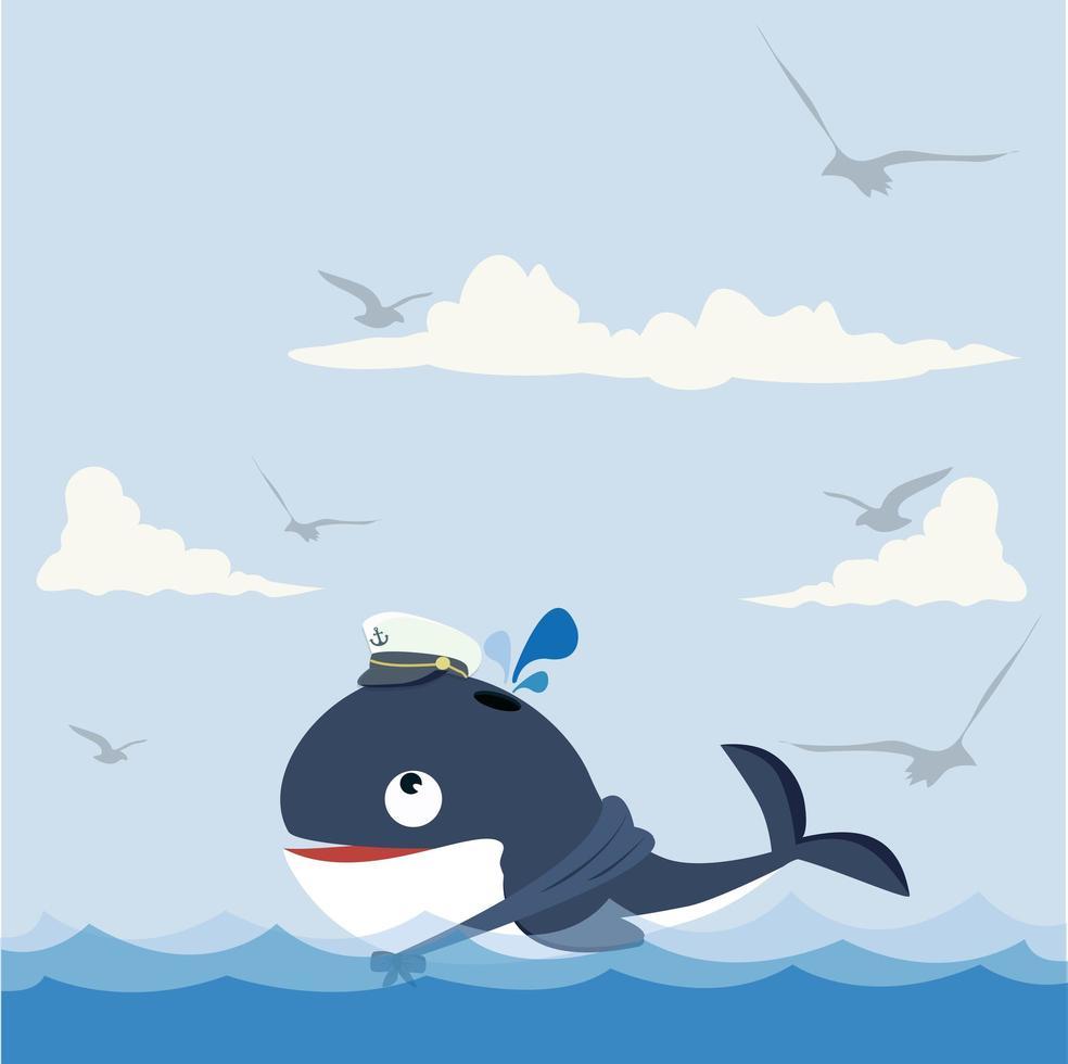 baleia fofa nadando feliz no mar vetor