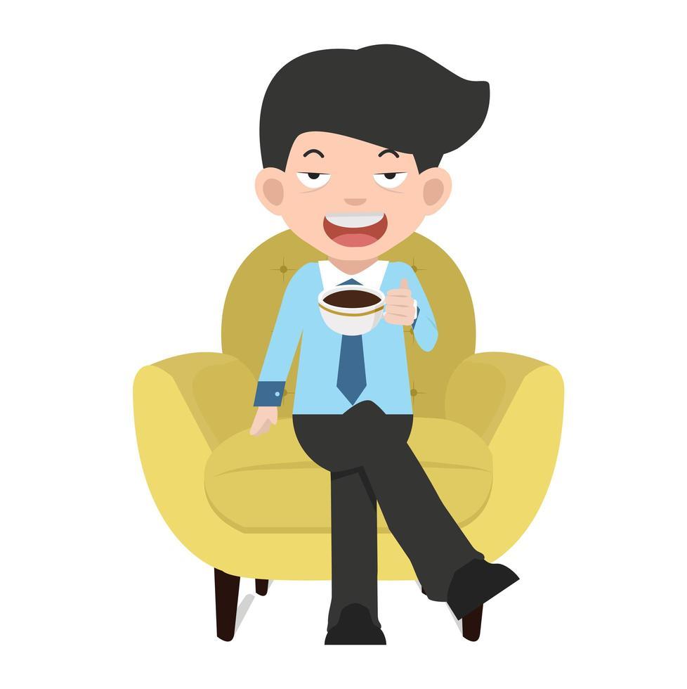 empresário tomando café em uma cadeira amarela vetor