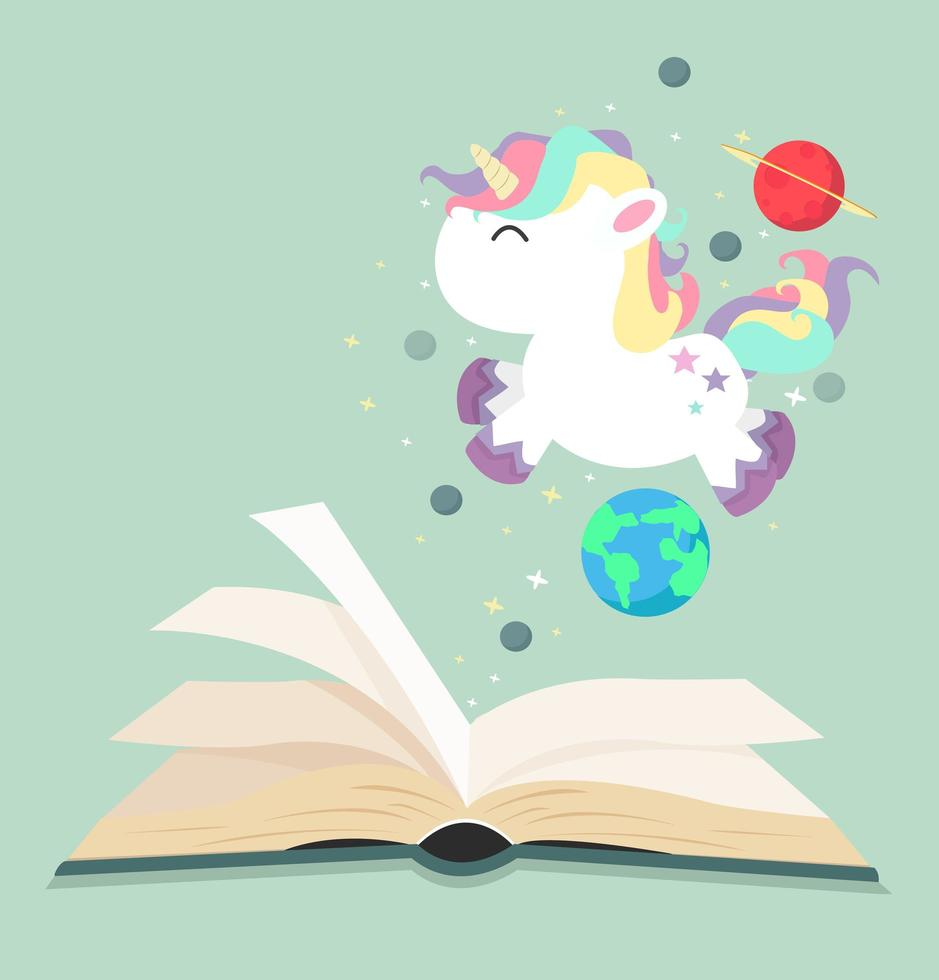 unicórnio fofo voando sobre um livro aberto vetor