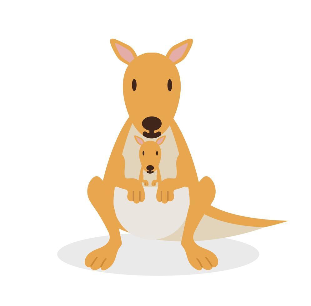 canguru fofo com bebê na bolsa vetor
