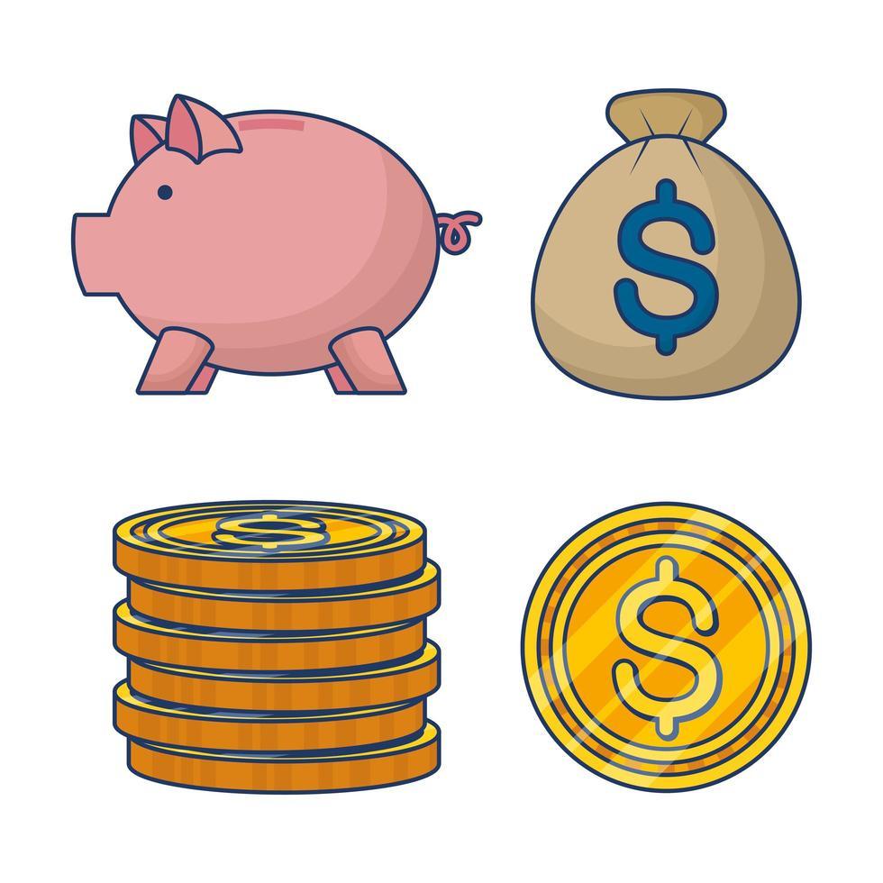 conjunto de ícones de dinheiro e finanças vetor