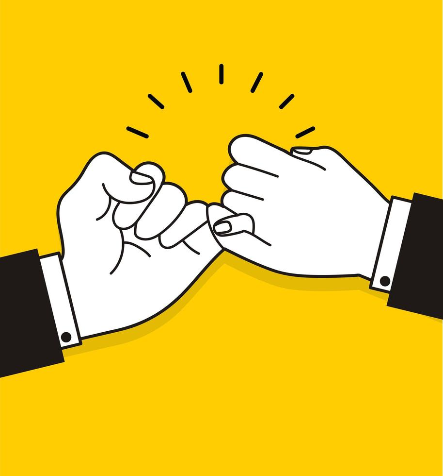 mãos de empresário fazendo uma promessa mindinho vetor
