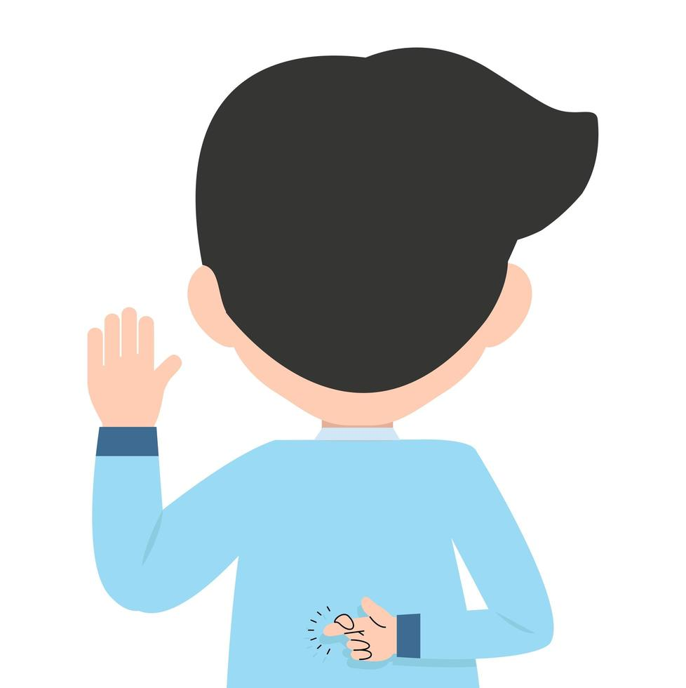 empresário fazendo uma promessa com os dedos cruzados nas costas vetor