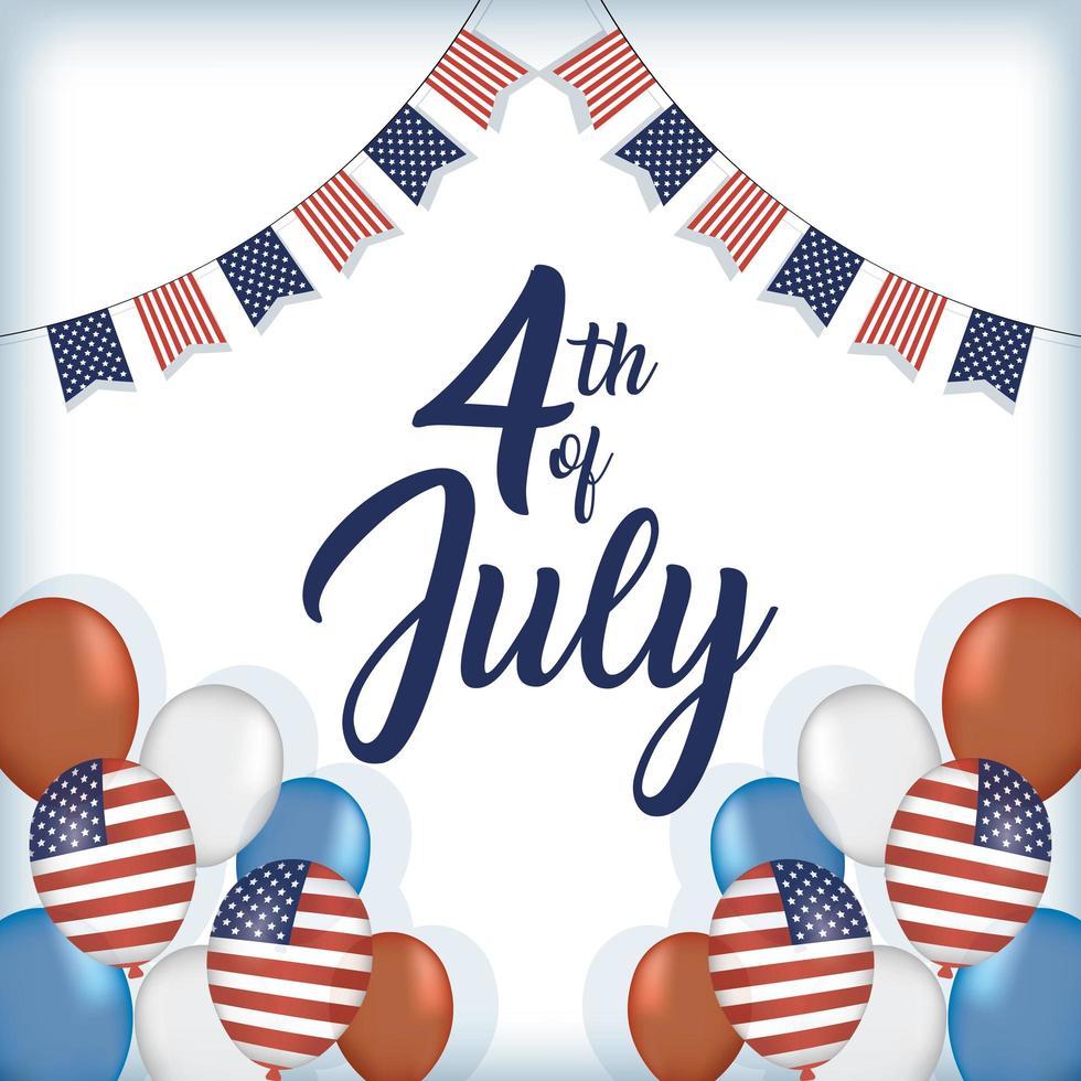 dia da independência dos eua com bandeiras e balões vetor