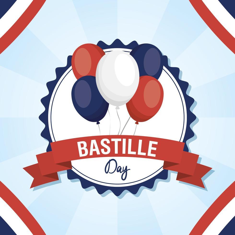 cartão comemorativo do dia da bastilha com balões vetor