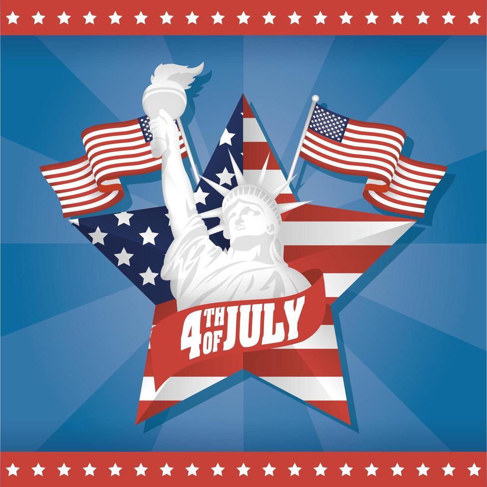 dia da independência dos eua com estátua da liberdade vetor