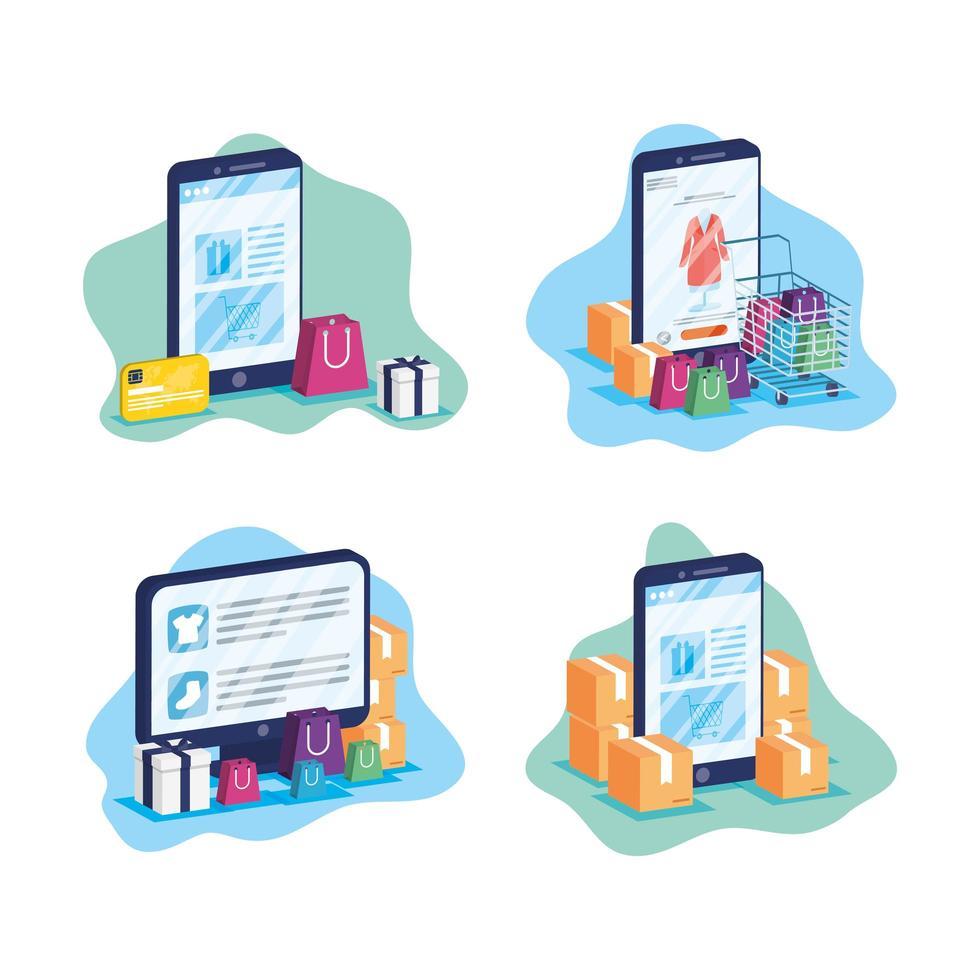 compras online e comércio eletrônico no conjunto de dispositivos vetor