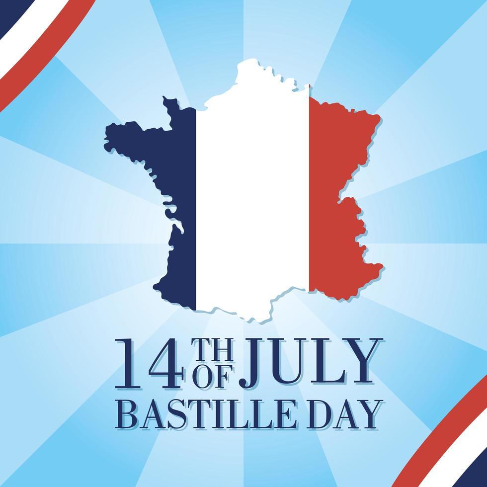 celebração do dia da bastilha com mapa da França vetor
