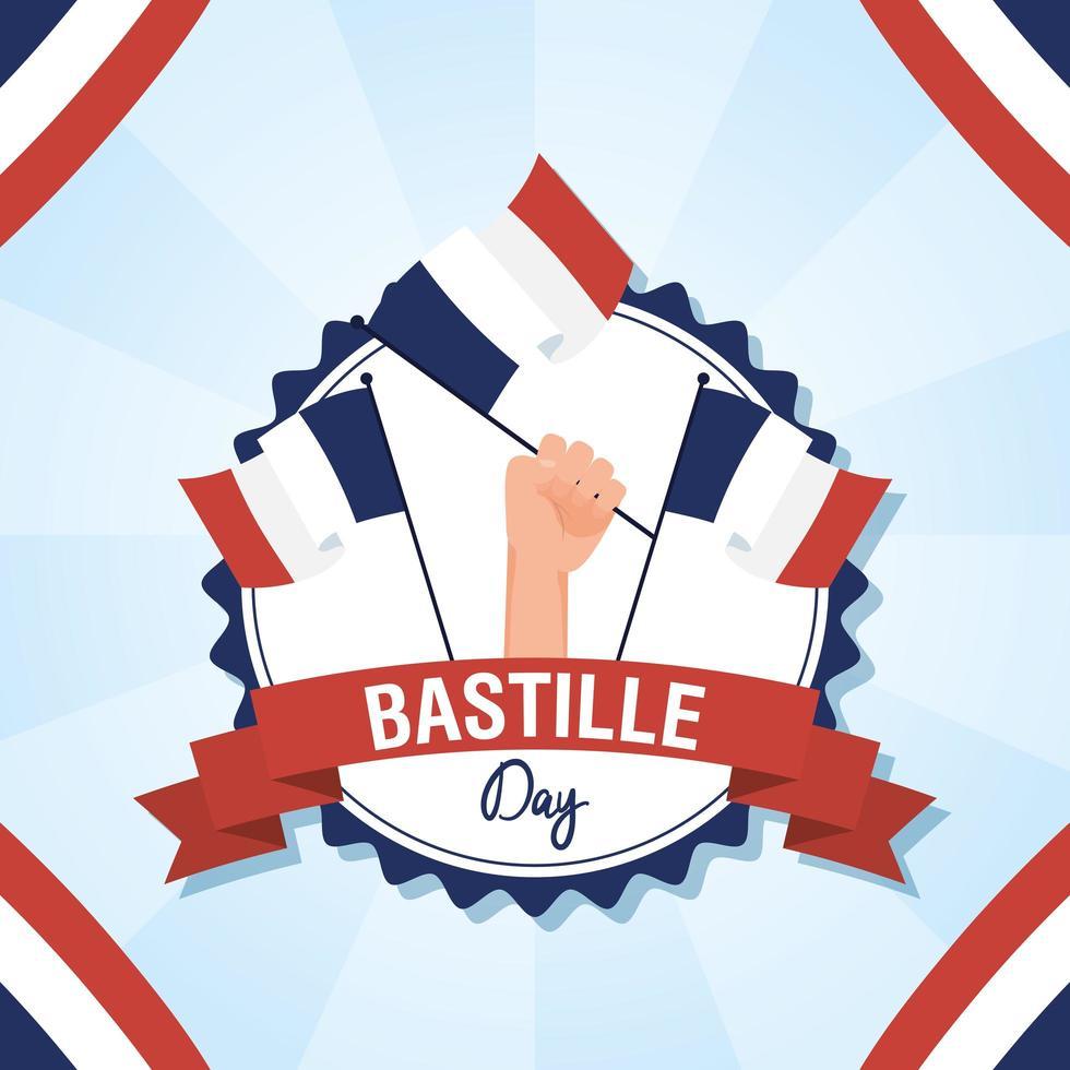 cartão comemorativo do dia da bastilha com ícones franceses vetor