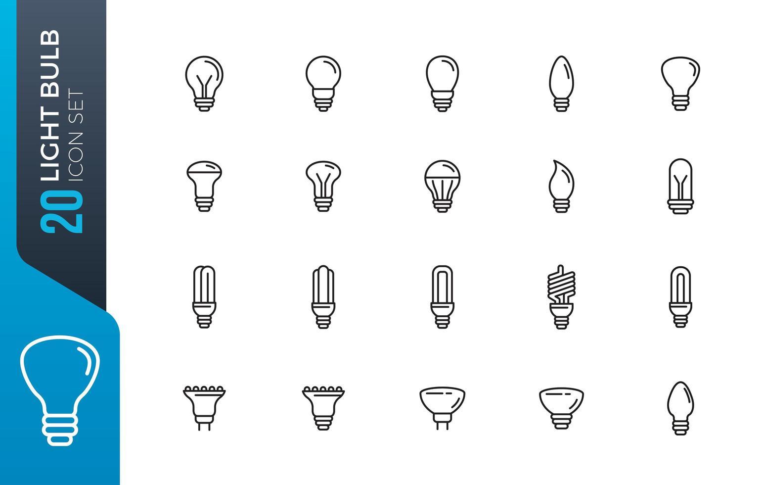 conjunto de ícones de lâmpada mínima vetor