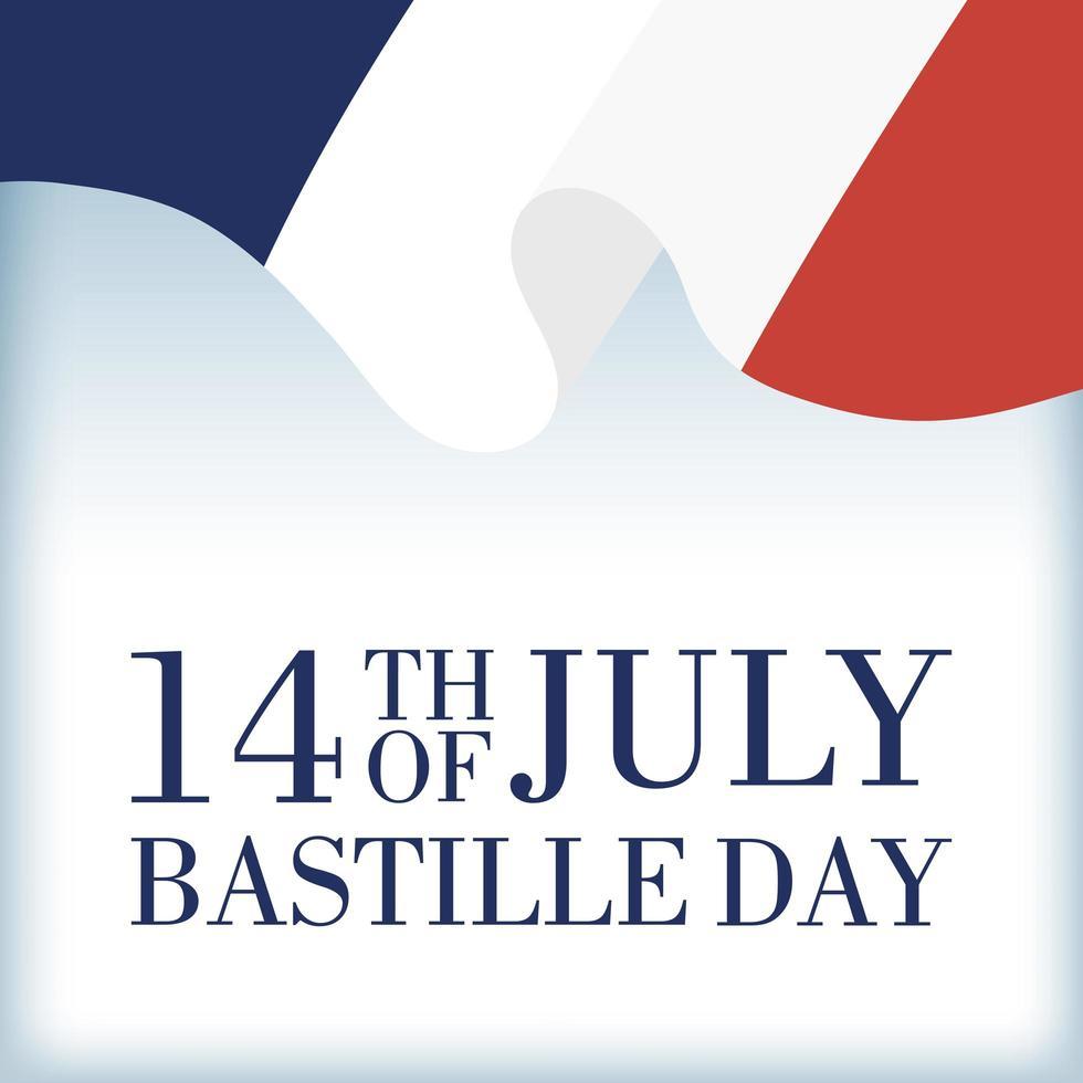 comemoração do dia da bastilha com bandeira francesa vetor
