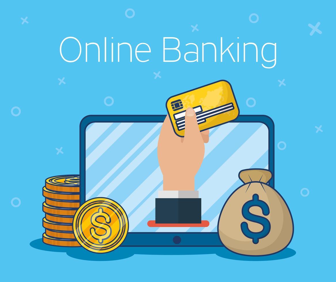 tecnologia de banco online com tablet vetor
