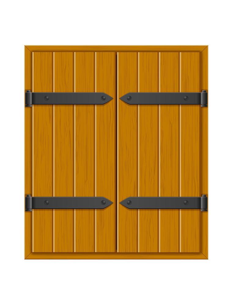 janela de madeira com veneziana fechada vetor