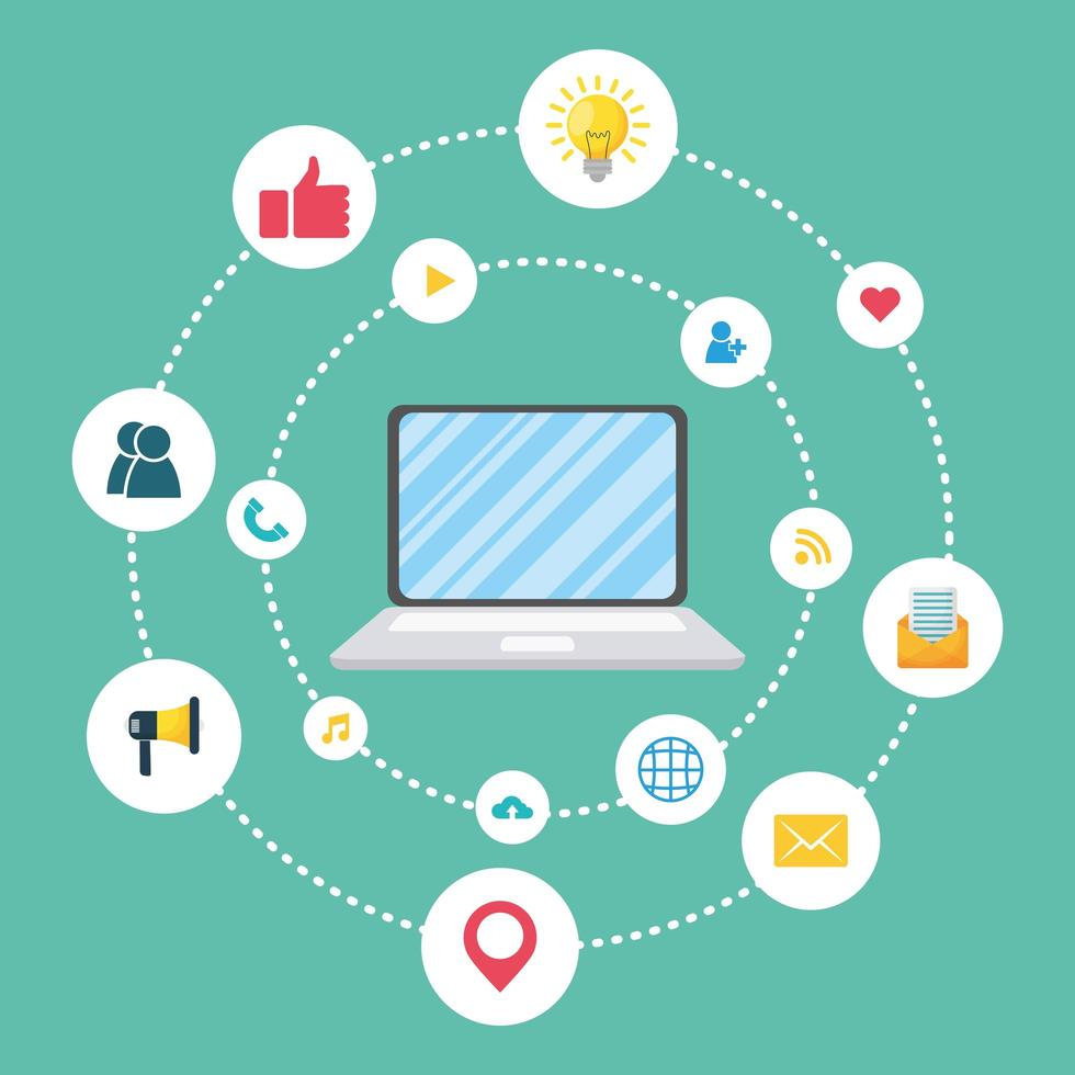 banner de marketing digital e mídia social vetor