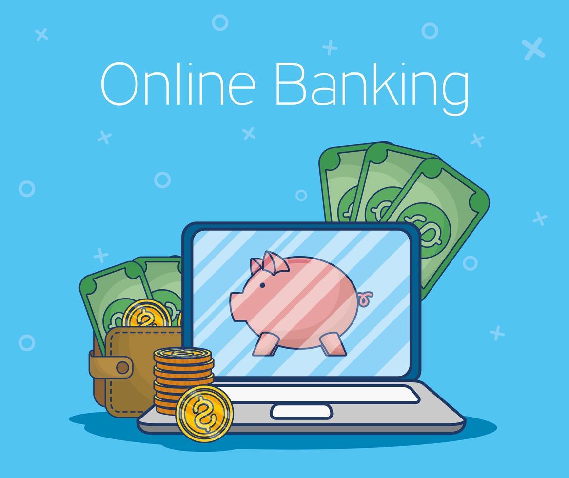 tecnologia de banco online com laptop vetor