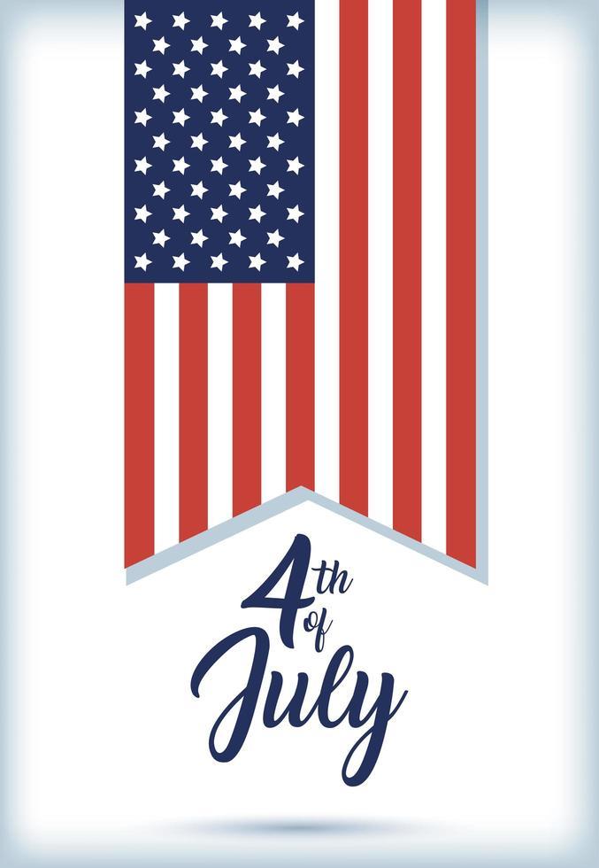 banner de celebração do dia da independência dos EUA com bandeira vetor