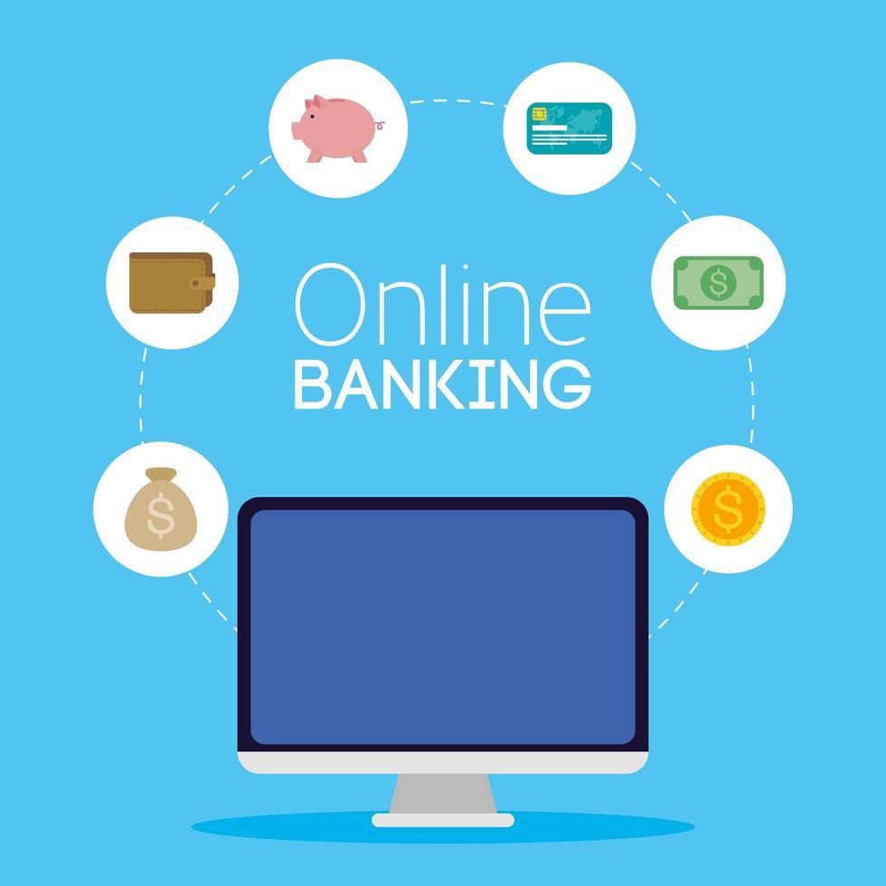 tecnologia de banco online com computador desktop vetor