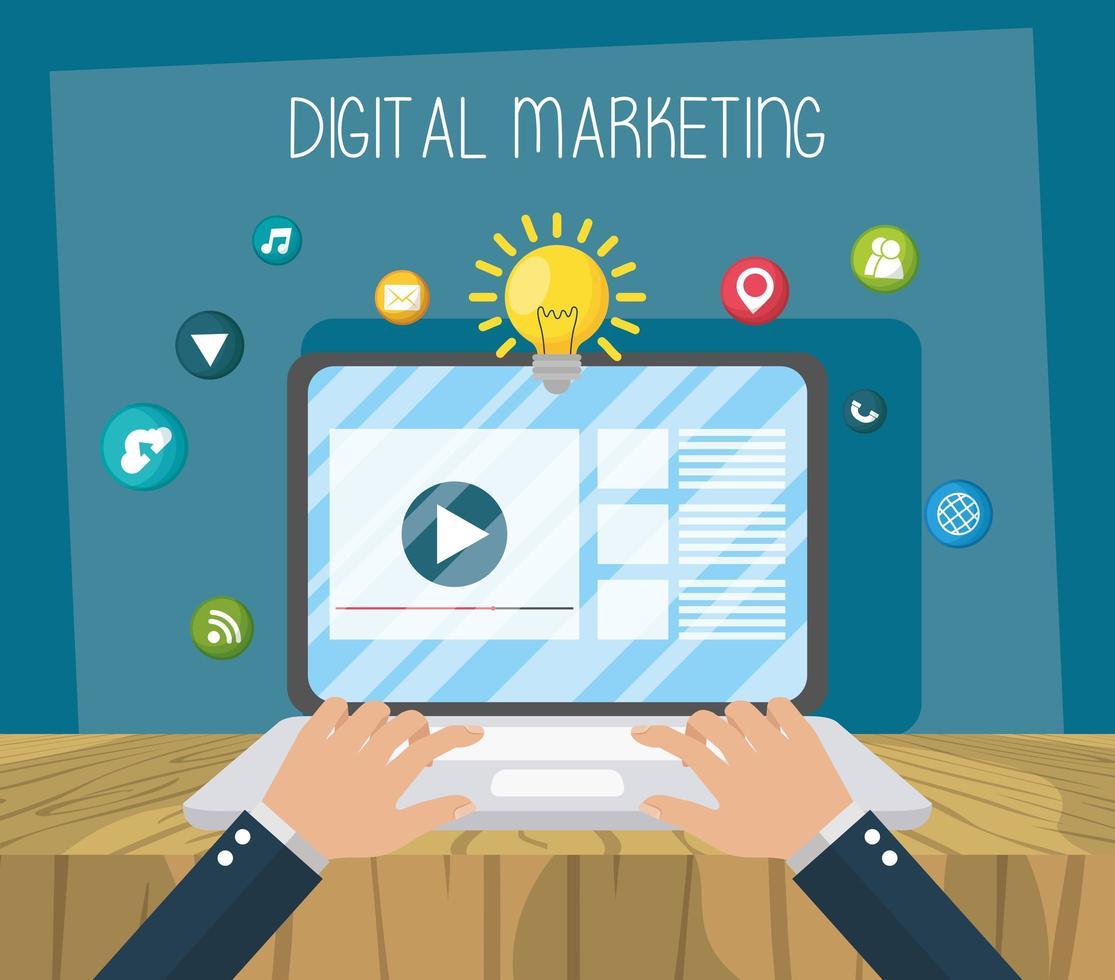 marketing digital e composição de mídia social vetor